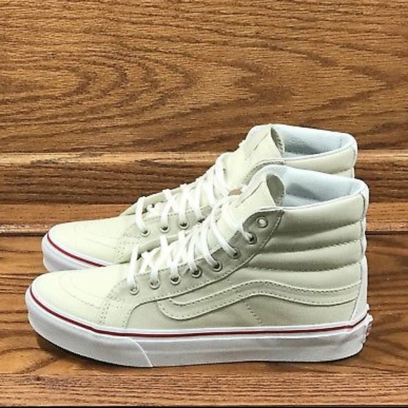 7b159c6242 Vans Sk8 Hi Slim Leather Canvas Bone True White